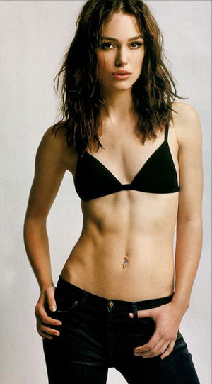 Keira Knightly with black jeans abd black bikini top