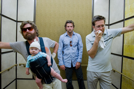 The Hangover - Elevator scene - Bradley Cooper, Ed Helms, Zach Galifianakis with Baby