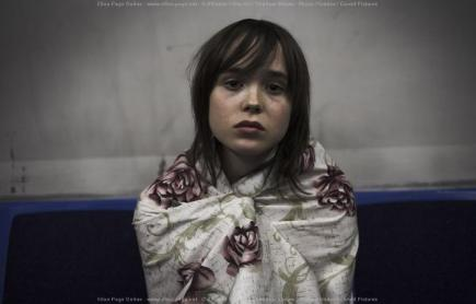 Ellen Page in shower curtain from The Tracey Fragments